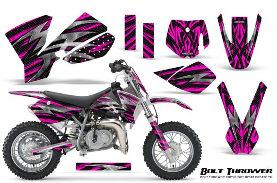 KTM SX50 CreatorX Graphics Kit Bolt Thrower Pink 570x376 - KTM SX 50 Adventurer Jr Sr 2002-2008 Graphics