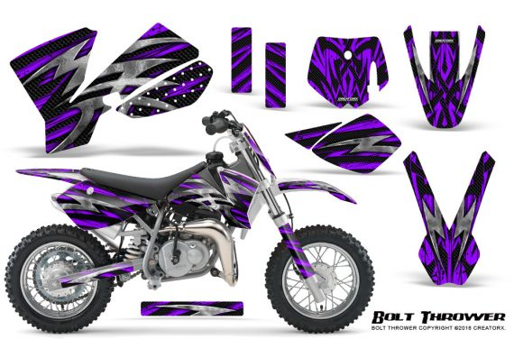 KTM SX50 CreatorX Graphics Kit Bolt Thrower Purple 570x376 - KTM SX 50 Adventurer Jr Sr 2002-2008 Graphics