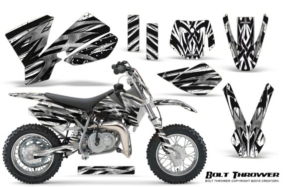 KTM SX50 CreatorX Graphics Kit Bolt Thrower White 570x376 - KTM SX 50 Adventurer Jr Sr 2002-2008 Graphics