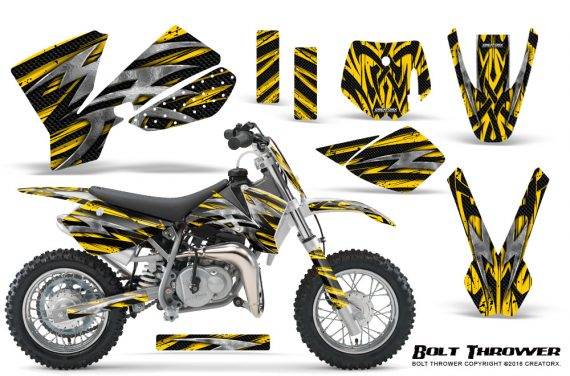 KTM SX50 CreatorX Graphics Kit Bolt Thrower Yellow 570x376 - KTM SX 50 Adventurer Jr Sr 2002-2008 Graphics