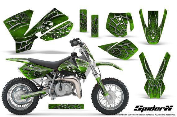 KTM SX50 CreatorX Graphics Kit SpiderX Green 570x376 - KTM SX 50 Adventurer Jr Sr 2002-2008 Graphics