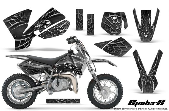 KTM SX50 CreatorX Graphics Kit SpiderX Silver 570x376 - KTM SX 50 Adventurer Jr Sr 2002-2008 Graphics