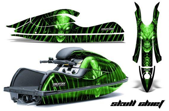 Kawasaki JetSki SX R800 CreatorX Graphics Kit Skull Chief Green 570x376 - Kawasaki 800 SX-R Jet Ski 2003-2012 Graphics