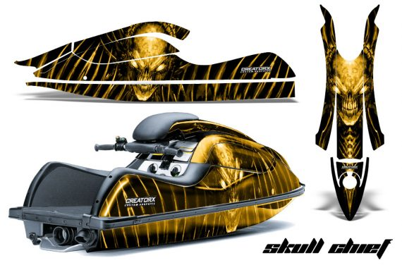 Kawasaki JetSki SX R800 CreatorX Graphics Kit Skull Chief Yellow 570x376 - Kawasaki 800 SX-R Jet Ski 2003-2012 Graphics
