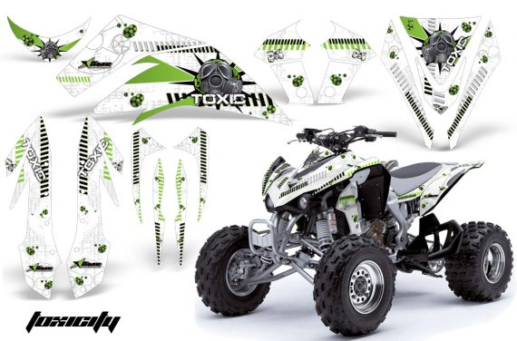Kawasaki KFX 450 AMR Graphic Kit Toxicity GREEN WHITEBG INSTALL 570x376 - Kawasaki KFX 450 Graphics