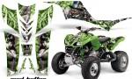 Kawasaki KFX 700 AMR Graphic Kit MadHatter Green Silverstripe 150x90 - Kawasaki KFX 700 Graphics