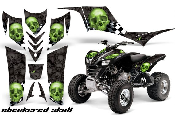 Kawasaki KFX 700 AMR Graphic Kit checkeredskull greenblkbg 570x376 - Kawasaki KFX 700 Graphics