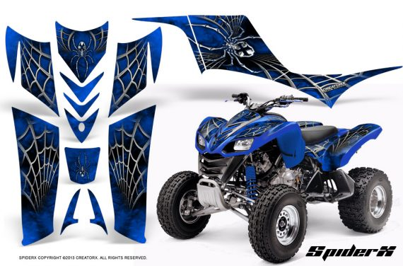 Kawasaki KFX 700 CreatorX Graphics Kit SpiderX Blue 570x376 - Kawasaki KFX 700 Graphics