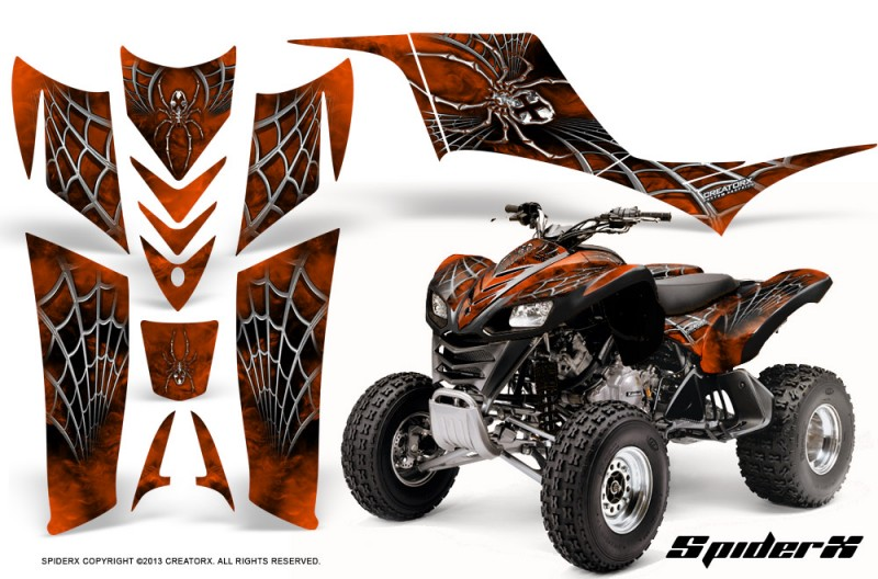 Kawasaki-KFX-700-CreatorX-Graphics-Kit-SpiderX-Orange