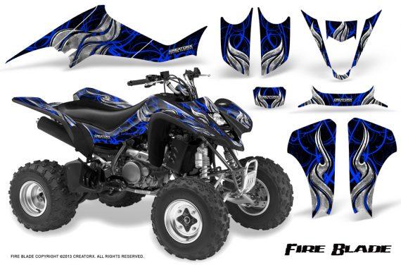 Kawasaki KFX400 03 08 CreatorX Graphics Kit Fire Blade Blue Black 570x376 - Kawasaki KFX 400 Graphics