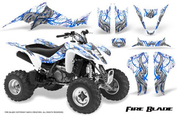 Kawasaki KFX400 03 08 CreatorX Graphics Kit Fire Blade Blue White 570x376 - Kawasaki KFX 400 Graphics