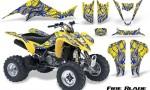 Kawasaki KFX400 03 08 CreatorX Graphics Kit Fire Blade Blue Yellow 150x90 - Kawasaki KFX 400 Graphics