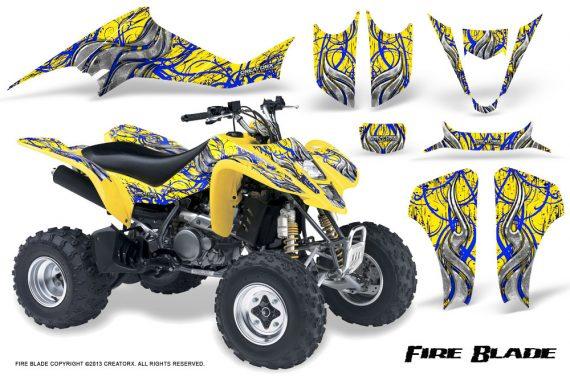 Kawasaki KFX400 03 08 CreatorX Graphics Kit Fire Blade Blue Yellow 570x376 - Kawasaki KFX 400 Graphics