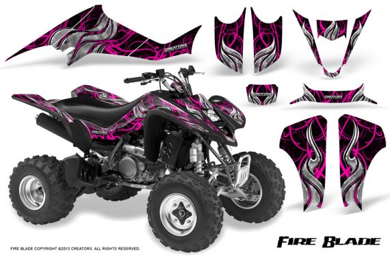 Kawasaki KFX400 03 08 CreatorX Graphics Kit Fire Blade Pink Black 570x376 - Kawasaki KFX 400 Graphics
