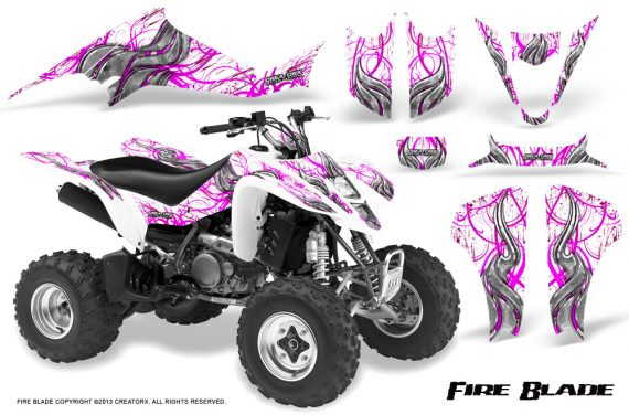 Kawasaki KFX400 03 08 CreatorX Graphics Kit Fire Blade Pink White 570x376 - Kawasaki KFX 400 Graphics