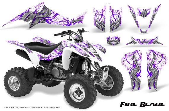 Kawasaki KFX400 03 08 CreatorX Graphics Kit Fire Blade Purple White 570x376 - Kawasaki KFX 400 Graphics