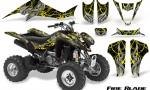 Kawasaki KFX400 03 08 CreatorX Graphics Kit Fire Blade Yellow Black 150x90 - Kawasaki KFX 400 Graphics