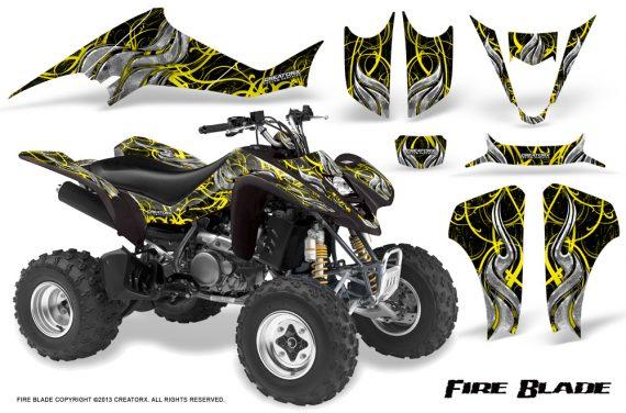 Kawasaki KFX400 03 08 CreatorX Graphics Kit Fire Blade Yellow Black 570x376 - Kawasaki KFX 400 Graphics