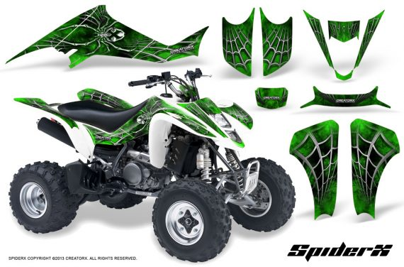 Kawasaki KFX400 03 08 CreatorX Graphics Kit SpiderX Green WB 570x376 - Kawasaki KFX 400 Graphics