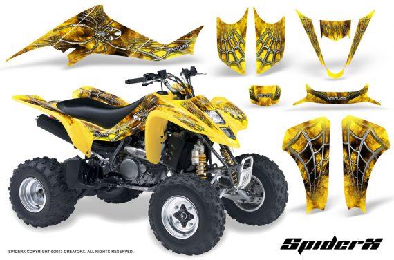 Kawasaki KFX400 03 08 CreatorX Graphics Kit SpiderX Yellow 570x376 - Kawasaki KFX 400 Graphics