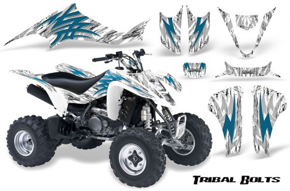 Kawasaki KFX400 03 08 CreatorX Graphics Kit Tribal Bolts BlueIce White 570x376 - Kawasaki KFX 400 Graphics