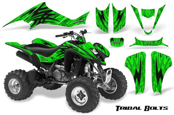 Kawasaki KFX400 03 08 CreatorX Graphics Kit Tribal Bolts Green 570x376 - Kawasaki KFX 400 Graphics