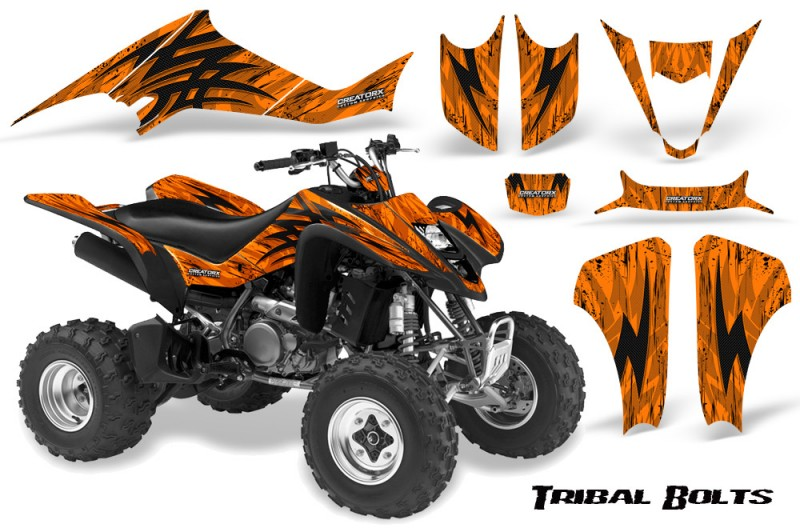 Kawasaki-KFX400-03-08-CreatorX-Graphics-Kit-Tribal-Bolts-Orange-BB