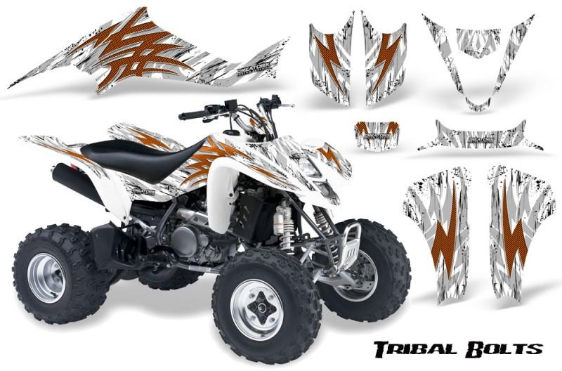 Kawasaki-KFX400-03-08-CreatorX-Graphics-Kit-Tribal-Bolts-Orange-White