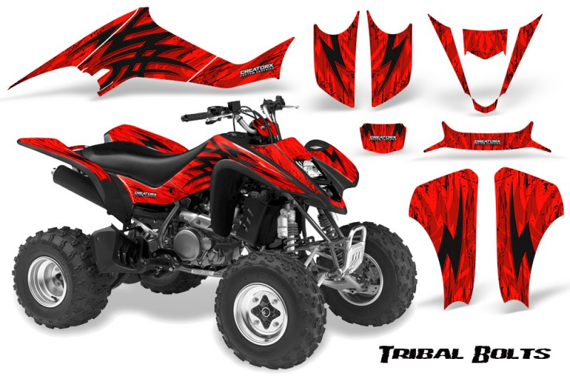Kawasaki-KFX400-03-08-CreatorX-Graphics-Kit-Tribal-Bolts-Red