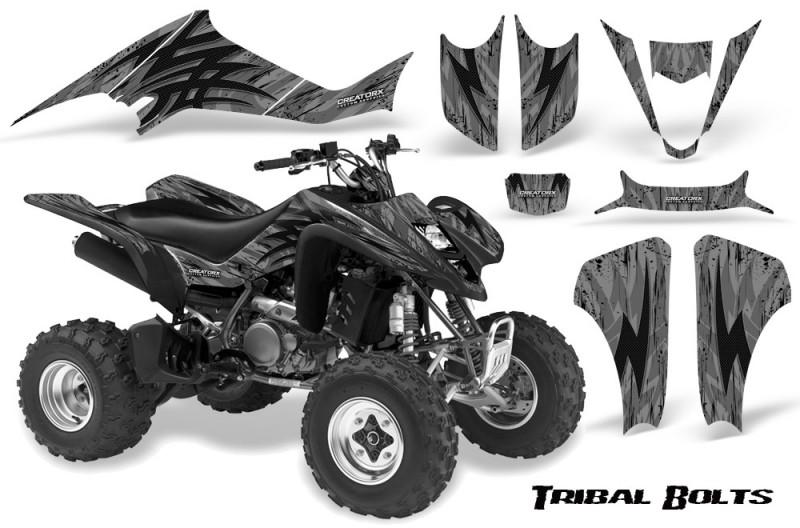 Kawasaki-KFX400-03-08-CreatorX-Graphics-Kit-Tribal-Bolts-Silver