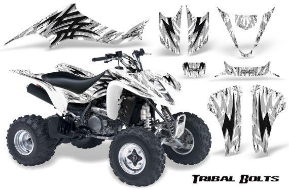 Kawasaki KFX400 03 08 CreatorX Graphics Kit Tribal Bolts White 570x376 - Kawasaki KFX 400 Graphics
