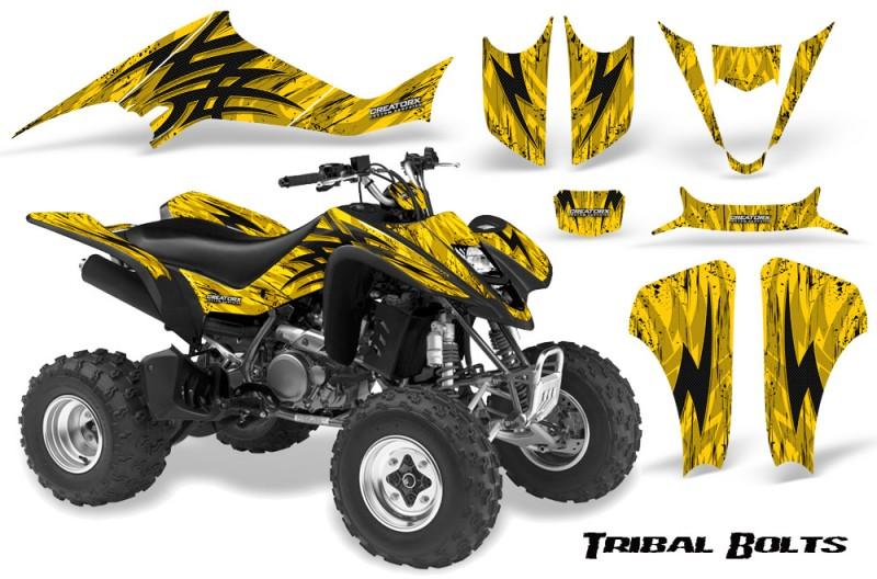 Kawasaki-KFX400-03-08-CreatorX-Graphics-Kit-Tribal-Bolts-Yellow-BB