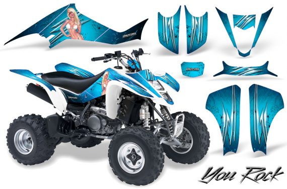 Kawasaki KFX400 03 08 CreatorX Graphics Kit You Rock BlueIce 570x376 - Kawasaki KFX 400 Graphics