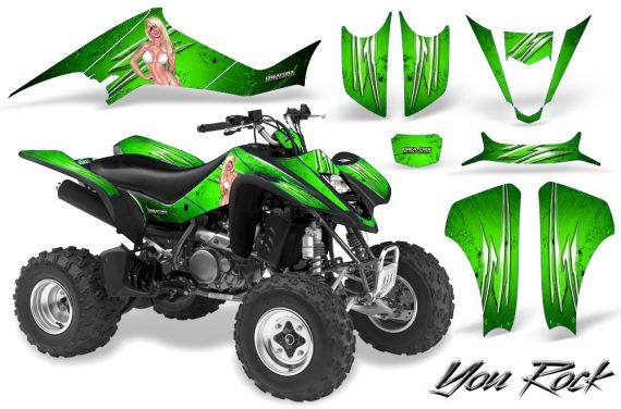 Kawasaki KFX400 03 08 CreatorX Graphics Kit You Rock Green 570x376 - Kawasaki KFX 400 Graphics