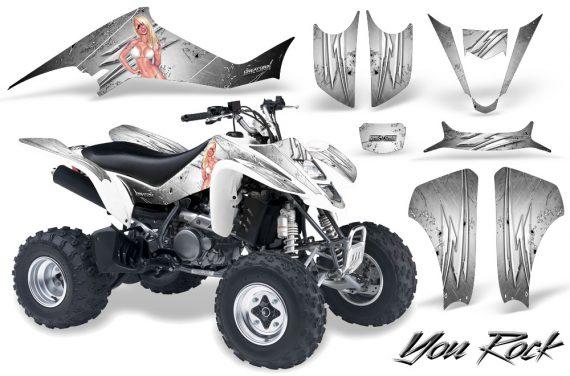 Kawasaki KFX400 03 08 CreatorX Graphics Kit You Rock White 570x376 - Kawasaki KFX 400 Graphics