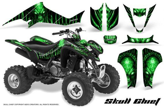 Kawasaki KFX400 03 08 CreatorX Graphics Skull Chief Green 570x376 - Kawasaki KFX 400 Graphics