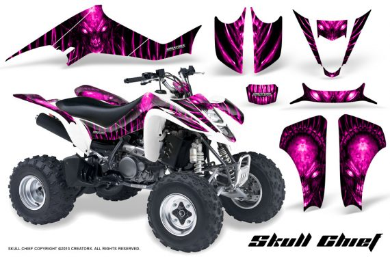 Kawasaki KFX400 03 08 CreatorX Graphics Skull Chief Pink 570x376 - Kawasaki KFX 400 Graphics