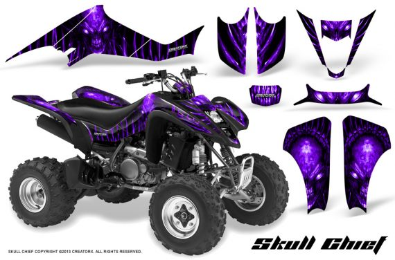 Kawasaki KFX400 03 08 CreatorX Graphics Skull Chief Purple 570x376 - Kawasaki KFX 400 Graphics