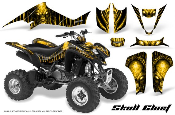 Kawasaki KFX400 03 08 CreatorX Graphics Skull Chief Yellow 570x376 - Kawasaki KFX 400 Graphics