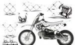Kawasaki KLX 110 KX 65 00 09 NP AMR Graphic Kit SSR BW 150x90 - Kawasaki KLX110 2002-2009 Graphics
