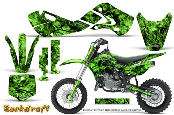 Kawasaki KLX110 02 09 KX65 02 12 CreatorX Graphics Kit Backdraft Green 570x376 - Kawasaki KX65 2002-2017 Graphics