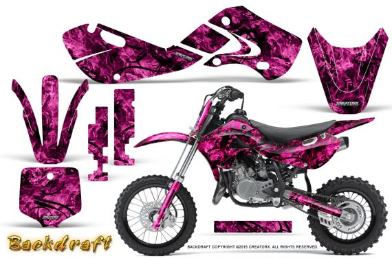 Kawasaki KLX110 02 09 KX65 02 12 CreatorX Graphics Kit Backdraft Pink 570x376 - Kawasaki KX65 2002-2017 Graphics