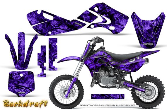 Kawasaki KLX110 02 09 KX65 02 12 CreatorX Graphics Kit Backdraft Purple 570x376 - Kawasaki KX65 2002-2017 Graphics