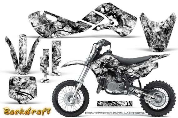 Kawasaki KLX110 02 09 KX65 02 12 CreatorX Graphics Kit Backdraft White 570x376 - Kawasaki KX65 2002-2017 Graphics