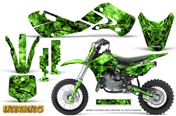 Kawasaki KLX110 02 09 KX65 02 12 CreatorX Graphics Kit Inferno Green 570x376 - Kawasaki KX65 2002-2017 Graphics