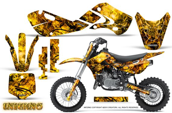 Kawasaki KLX110 02 09 KX65 02 12 CreatorX Graphics Kit Inferno Yellow 570x376 - Kawasaki KX65 2002-2017 Graphics