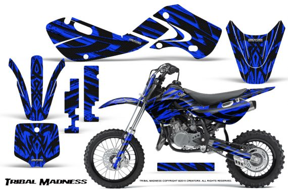 Kawasaki KLX110 02 09 KX65 02 12 CreatorX Graphics Kit Tribal Madness Blue 570x376 - Kawasaki KX65 2002-2017 Graphics
