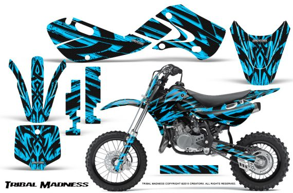 Kawasaki KLX110 02 09 KX65 02 12 CreatorX Graphics Kit Tribal Madness BlueIce 570x376 - Kawasaki KX65 2002-2017 Graphics
