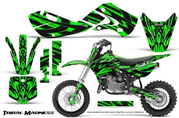 Kawasaki KLX110 02 09 KX65 02 12 CreatorX Graphics Kit Tribal Madness Green 570x376 - Kawasaki KX65 2002-2017 Graphics