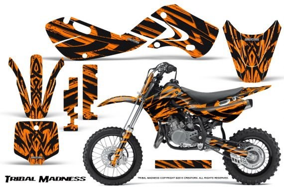 Kawasaki KLX110 02 09 KX65 02 12 CreatorX Graphics Kit Tribal Madness Orange 570x376 - Kawasaki KX65 2002-2017 Graphics